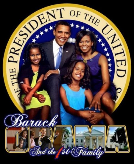 President Obama, of the United States of America and the First Black Family