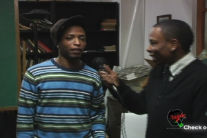 LtoR: Shorty Roc (Out Rapper)  & Eric J Parker(Host of INSIDE THE Q! TV) @ Fades of Black Womyn Film Showcase 2009